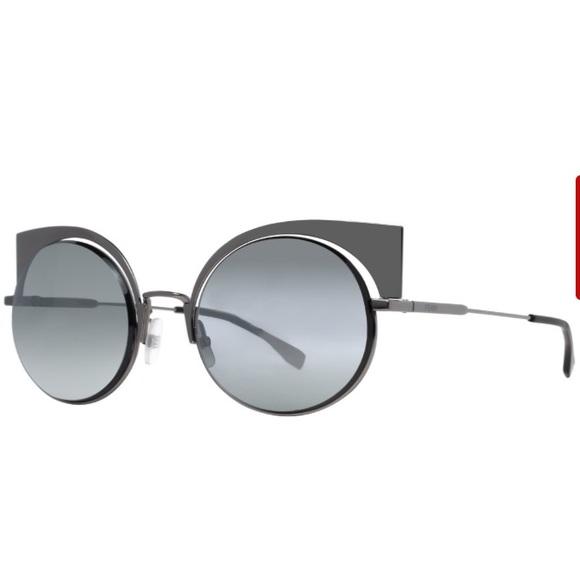 65b92a7d99 Fendi FF Dark Mirrored Round Cat Eye Sunglasses